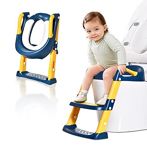 Siège Toilette Enfant avec Échelle, Pliable et Réglable, Anti-dérapant Reducteur de Toilette Bébé avec Marches Larges, Reducteur Toilette pour Enfant de 1 à 8 Ans