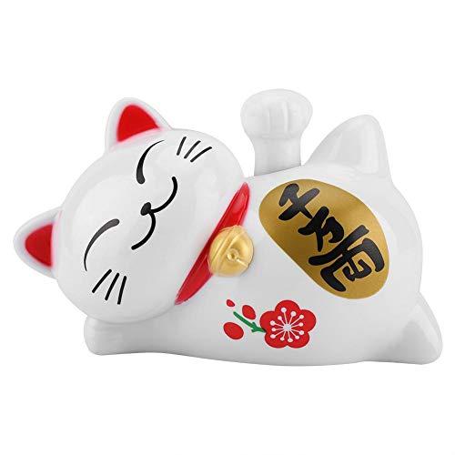 Solarbetriebene Maneki Neko LuckyCat Fortune Begrüßung Winken Arm Paw Up Faule Liegen Reichtum Fortune Cat Home Stores Auto Feng Shui Dekor Weiß(# 2)
