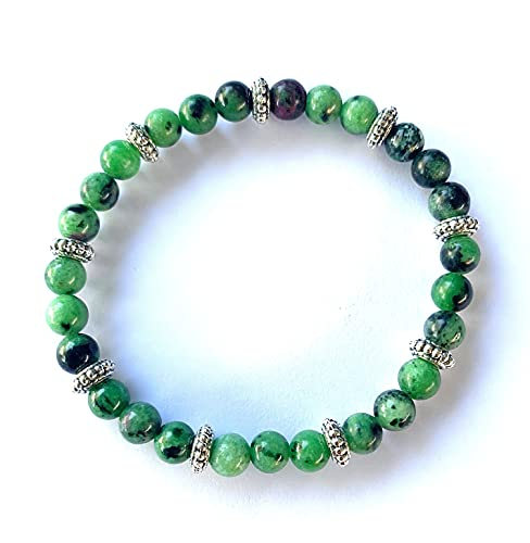 Pulsera para Mujer Piedra Natural tonos verdes y abalorios de Zamak bañado en plata de 8 micras. Pulsera mujer. Pulsera regalo.