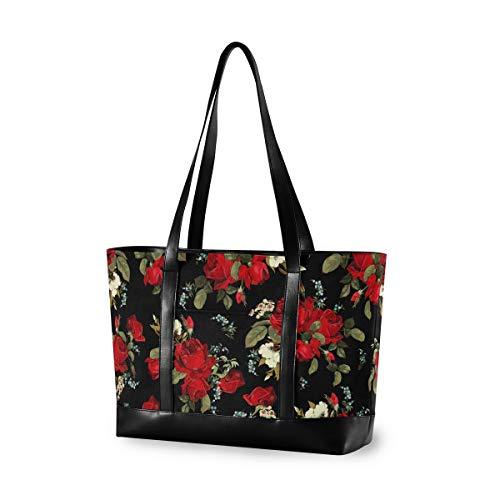 DOSHINE Damen Laptoptasche mit Blumenmuster und Rosenmuster, Schwarz aus Segeltuch, Handtasche, leicht, Laptoptasche, 39,6 cm (15,6 Zoll) Schultertasche für Business Büro Arbeit Reisen