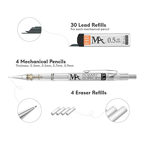 MozArt Supplies Mechanical Pencil Set with Case - 4 Sizes: 0.3, 0.5, 0.7 & 0.9 mm, 30 HB Lead refills each & 4 Eraser Refills - Drafting, Sketching, Illustrations, Architecture (plastic 2) Photo #2