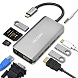 Enisina USB C Adapter, 10 Port Aluminium USB C Hub...