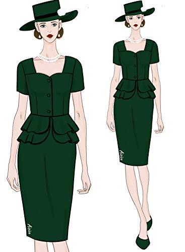 AISIZE Women 1940s Vintage Button Elegant Sweetheart Peplum Prom Dress XX-Large Dark Green