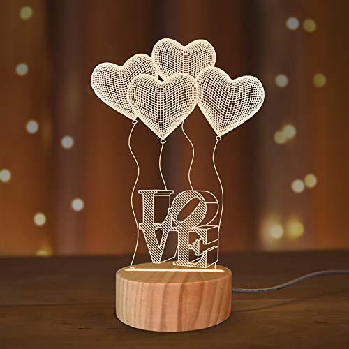 I Love You Gifts 3D-Illusions-Nachtlicht, romantisches Schlafzimmer-Nachtlicht in warmen Farben, Holz, handgefertigt, cooles Geschenk für Jungen, Mädchen, Freunde, Eltern