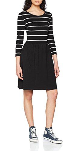 ONLY NOS Damen onlAMBER 3/4 FIT and Flair Dress NOOS Kleid, Mehrfarbig (Black Stripes:Cloud Dancer), 38 (Herstellergröße: M)