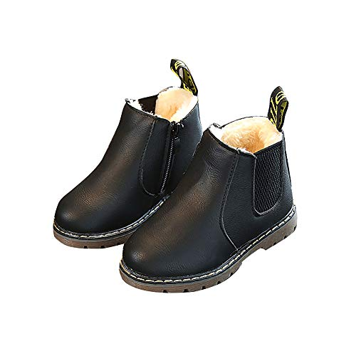 EsTong Baby Fur Lined Leather Boots Anti-Slip Winter Snow Booties for Toddler Boys Girls Black 23: 24-30 Months