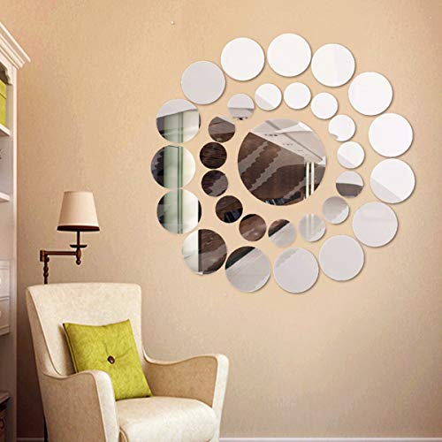 ODJOY-FAN 31PC Adesivo da Parete Rotondo a Specchio Acrilico Superficie Adesivo casa Decorazioni -murali tridimensionali specchiati Adesivi murali 3D creativi per la Decorazione della Domestica
