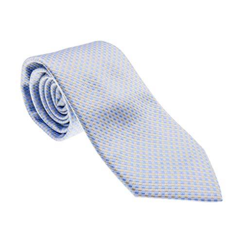 BSA Corbata 10 Neckwear 100% seda Made in Italy 8 cm Color Azul Diseño Microfantasía Tejido Italiano
