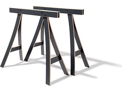 Modulor Tischbock Derk, 71 cm x 35,5 cm x 82,5 cm, Tischgestell aus Buche-Schichtholz mit Melaminharzbeschichtung für Tisch, 2 Stück, anthrazitgrau