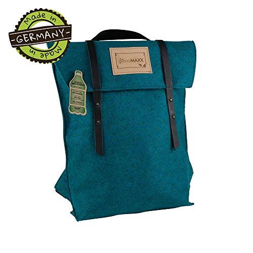 greenMAXX Backpack SANSA PET I Milieuvriendelijke vilten rugzak dames & heren van gerecycled PET vilt I stabiele rugzak boodschappentas met binnentas I Rugzak voor elke dag 26x38x8 cm