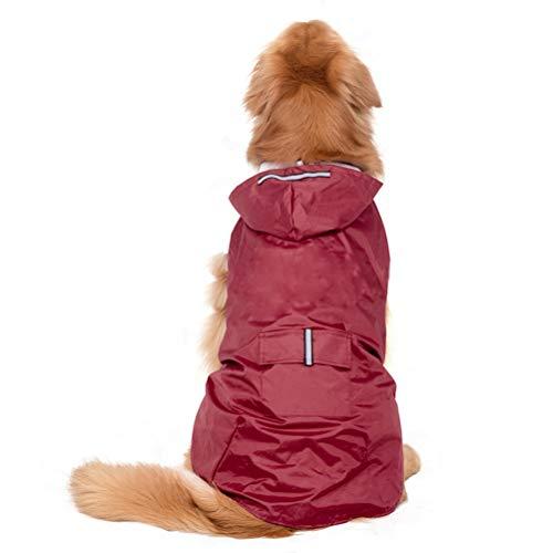 POPETPOP Chubasquero con capucha para perros de tamaño mediano y grande, reflectante, con orificio para arnés, bolsillos, chaqueta de lluvia (Rojo, 5XL)