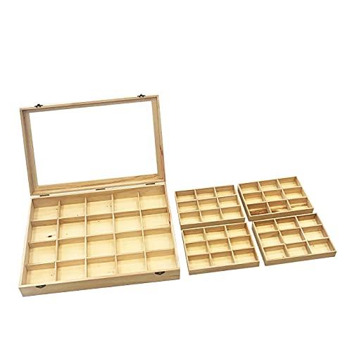 Acan Caja de Madera, 56 Compartimentos en 2 Niveles, Tapa con Cristal...