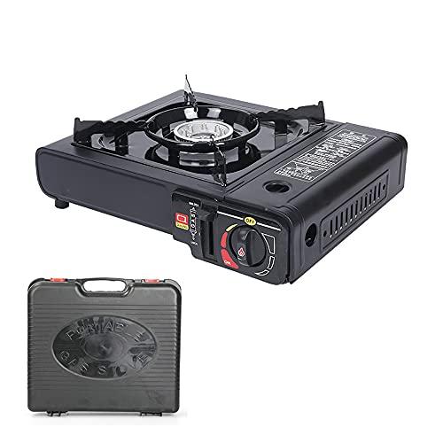 Juego de cocina de gas para camping en maletín de transporte de doble propósito, cartuchos de gas portátiles internos o bombona de gas externa.