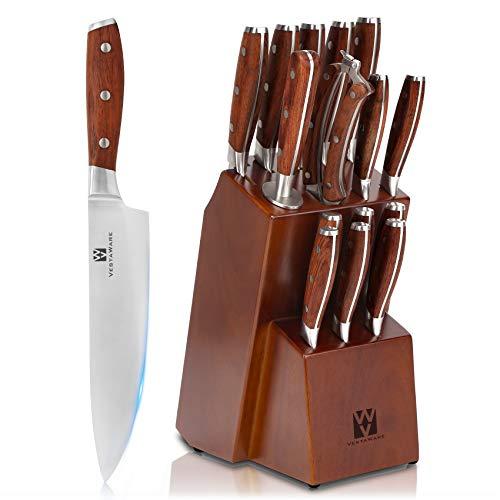 Vestaware - Juego de cuchillos de cocina, 16 piezas, con afilador de cuchillos, tijeras de cocina, madera de bloque, 6 cuchillos de carne de acero inoxidable