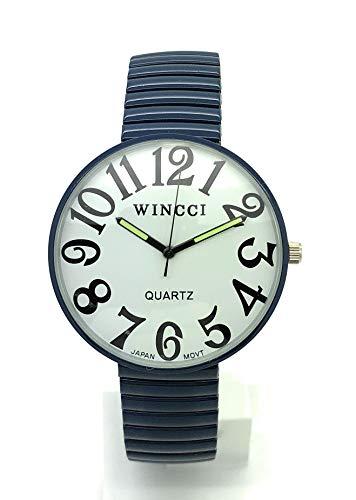 Mens Ladies Jumbo Big Numbers Stretch Elastic Band Fashion Watch Wincci (Navy Blue)