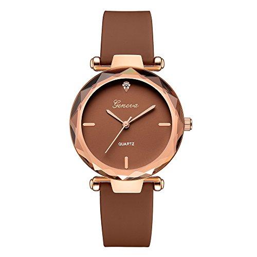 Clearance Sale!DEESEE(TM)Fashion Womens Ladies Watches Geneva Silica Band Analog Quartz Wrist Watch (Brown)