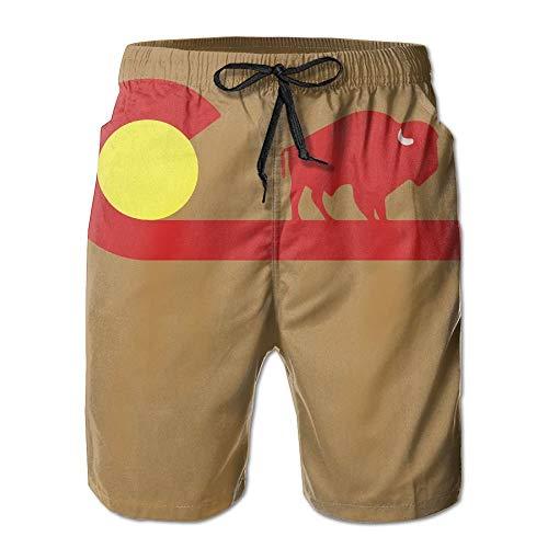 Colorado Buffalo State Flag Pantalon de Bain décontracté pour Hommes/garçons, Maillot de Bain, Taille élastique avec Poches,XXL