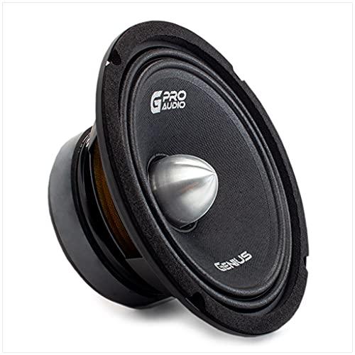 """Genius Audio GPRO-M1465B 6.5"""" 200 Watts Max 100 Watts RMS Pro Audio Midrange Speakers Push Connector Aluminium Bullet Car Audio Speaker Ferrite Magnet 4 Ohm Reinforced Paper Cone (1 Speaker)"""