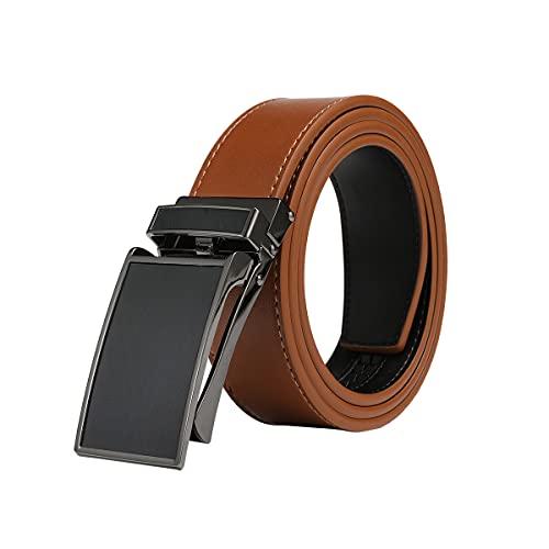 VRLEGEND Cinturón Cuero Hombres Traje Piel Cinturones Business Ajustable Hebilla Automática Trinquete 3.5cm Ancho Tallas Grandes Negro & Marrón (150cm, Marrón)