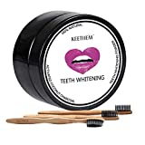 Charcoal Teeth Whitening Powder, Activated Charcoal Natural Teeth Whitener Teeth Whitening Charcoal Powder with 3pcs Bamboo Toothbrushes