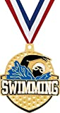 Crown Awards 2 1/4' Royal Swim Medals, Gold Swim Medal with Free Neck Ribbon