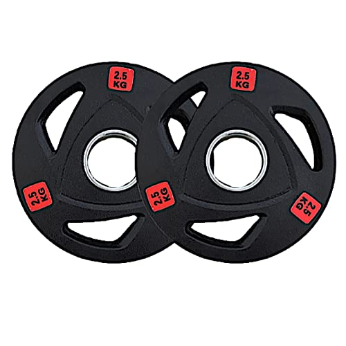 Tri Grip Rubber coated Cast Iron weight Plates, 2.5kg, 5kg, 10kg, 15kg sold as a pair, 20kg & 25kg sold separately. 2-Inch Olympic Grip Plate for Strength Training, Weightlifting