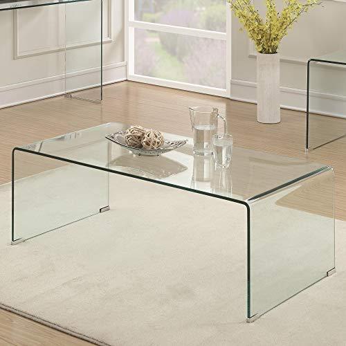 Benzara Mesa de café de Cristal Transparente