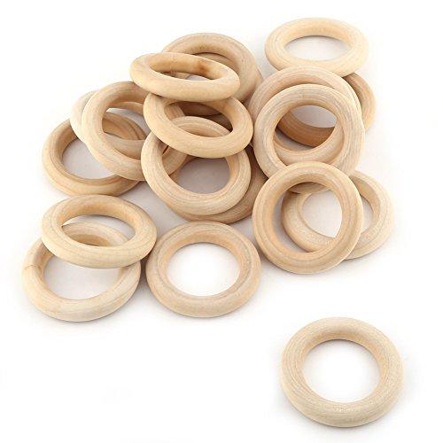 20 anillos de madera naturales sin terminar de madera, redondos, para hacer joyas, accesorios para manualidades