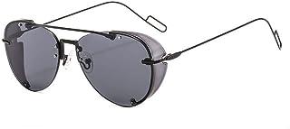 QWKLNRA - Gafas De Sol para Hombre Marco Negro Lente Negra Ultraligero Steampunk Against-UV Anti-Rayado Gafas De Sol Modernas Moda Punk Shades Uv400 Ciclismo Viajes Pesca Gafas De Sol Al Aire Libre