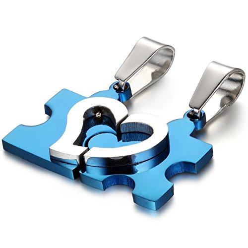 Flongo Partnerketten Partneranhänger BFF Ketten Damen Anhänger Herrenkette, 2 Stück Edelstahl Partner Anhänger Halskette Blau Silber Herz Puzzle Valentine Paar Set Herren,Dame