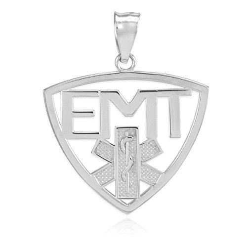 14 quilates 585/1000 Oro Blanco EMT Técnico de Emergencias Médicas Colgante collar (Libro Con Cadena 45cm)