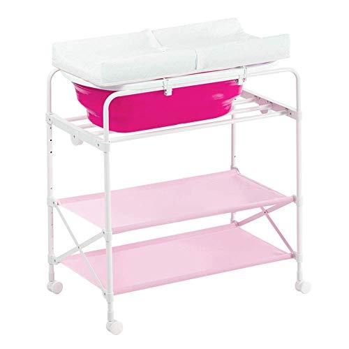 BBNBY roze baby-luier-station/tablet opvouwbaar voor zuigeling, pasgeboren veranderende kleding-multifunctionele badkamer-bereider met badkuip