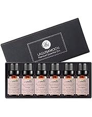 Lagunamoon Zestaw upominkowy do aromaterapii olejków eterycznych, 100% czysty zestaw olejków leczniczych klasy premium -Lavender, drzewo herbaciane, eukaliptus, trawa cytrynowa, pomarańczowy, mięta pieprzowa