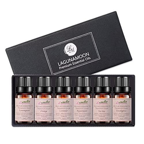 Lagunamoon Aromatherapy Essential Oils Gift Set,100% Pure Premium Therapeutic Grade Oils kit -Lavender, Tea Tree, Eucalyptus, Lemongrass, Orange, Peppermint