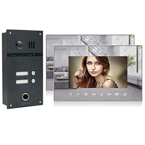 2 Familienhaus 2 Draht Video Fingerprint Türsprechanlage Gegensprechanlage Fischaugenkamera 170 Grad Anthrazit, Farbe: 2x7'' Monitor Spiegel