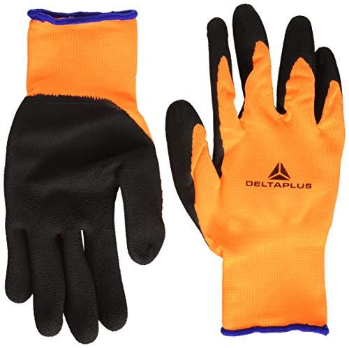 Delta Plus DPVV733OR10 - Guanti lavorati a maglia, in poliestere, rivestimento in schiuma di lattice sul palmo, 10 pezzi, colore: Arancione/Nero