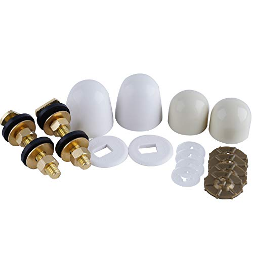 Toilet Floor Bolts and Caps Set, Universal Toilet Bowl to Floor Bolts Solid Brass, Including 2 Brass Bolts, 4 Bolt Caps with Nuts/Washers Toilet Bolts Heavy Duty Bolts Closet Bolt Set, Solid Brass