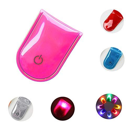 LED Sicherheitslicht Clip Magnetclip Licht fürs Laufen Joggen Walking Hochwertiges Leichtes Blinklicht Kinder und Erwachsene (PVC-Rosa)