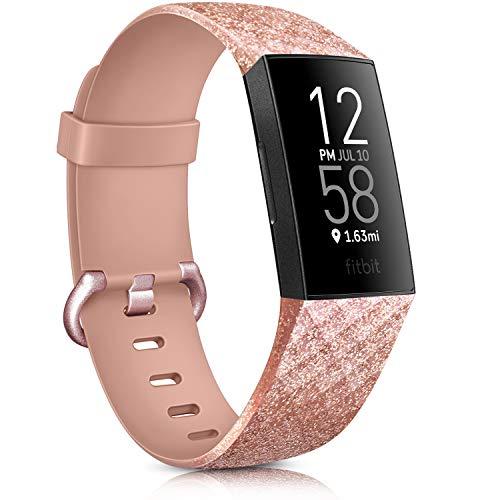 AK Cinturino per Fitbit Charge 3/ Fitbit Charge 4 Cinturino Edizione Speciale Cinturino da Regolabile Sport per Fitbit Charge 3/ Fitbit Charge 4 (#Flash Oro Rosa, S)