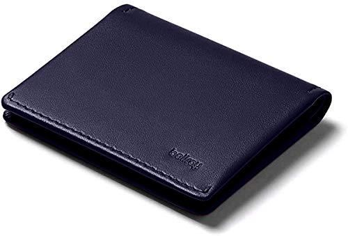 Bellroy Slim Sleeve Wallet (Premium Leather, Front Pocket Wallet, Thin Bifold Design, Holds 4-12 Cards, Folded Note Storage) - Navy Tan