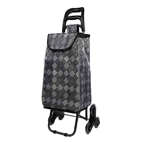 Lanrui Grocery Shopping Cart, Collapsible Supermarket Basket, Stair Climber Trolley Dolly Carts, Waterproof Grocery Utility Bags (Color : B)