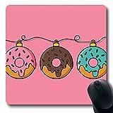 Jamron Mousepad OblongColorful Bakery Donut Árbol de Navidad Flat Set Holidays Pink Donut Desayuno Pastel Texturas Dulces Antideslizante Goma Alfombrilla de ratón Oficina Computadora Ordenador portáti