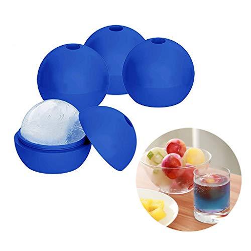 Ice Sphere Moulds, 4 Ice Ball Maker met deksel, siliconen ijsblokjesschalen voor vriezer, whisky, cocktail, wijn