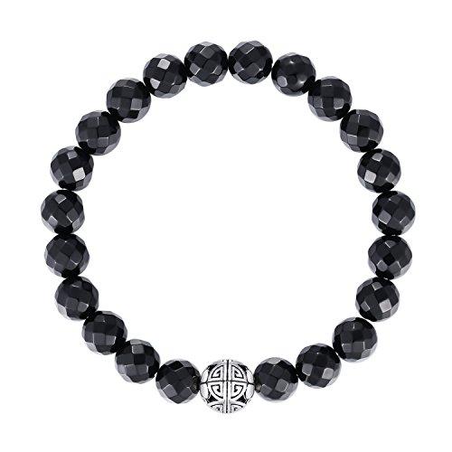 Natural 8mm piedras preciosas MetJakt Curación Crystal Stretch moldeado pulsera brazalete con plata de ley 925 doble felicidad colgante (Ónix negro)
