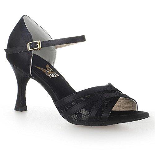 Jia Jia 20515Scarpe da ballo, da donna, stile latino, sandali con tacco di 7 cm svasato ,scarpe da ballo super con raso, Nero (Black), 40