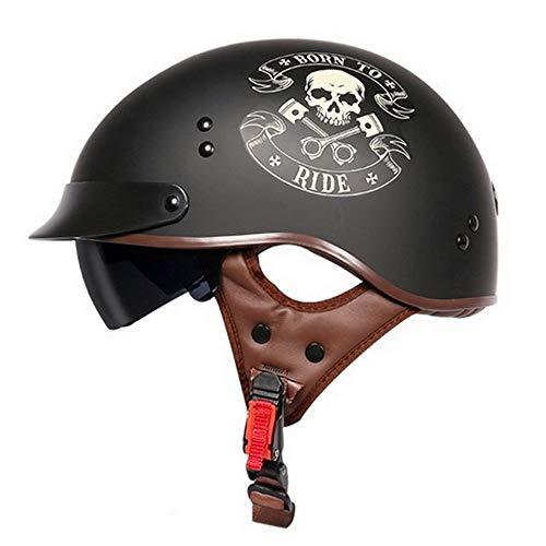 DKZK Motorradhelm, Offener Helm Unisex DOT-Zertifizierter Retro Harley Helm Pilot Jet Helm Cruiser Chopper Halbhelm
