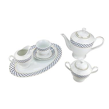 Majestic Porcelain 49-Piece Dinner Set, Gold-Plated Blue Cobalt Net Place Setting, White Porcelain Dinnerware Set, Service for 8