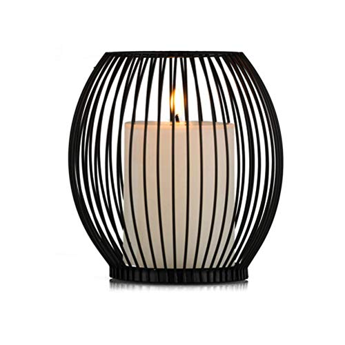 Kikier Kerzenständer, europäischer Stil, einfache Retro Eisen oval Kerzenhalter, Schwarz , 18*16*8cm
