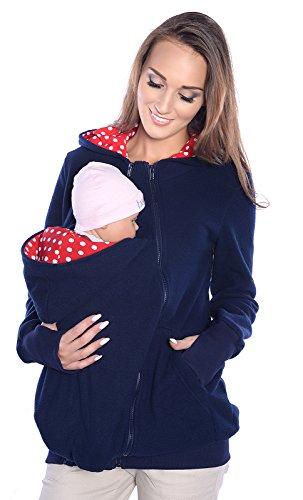 Mija - 3in1 Tragejacke, Umstandsjacke/Fleece Tragepullover für Tragetuch für Babytrage 4018A (M / 38, Dunkeblau)