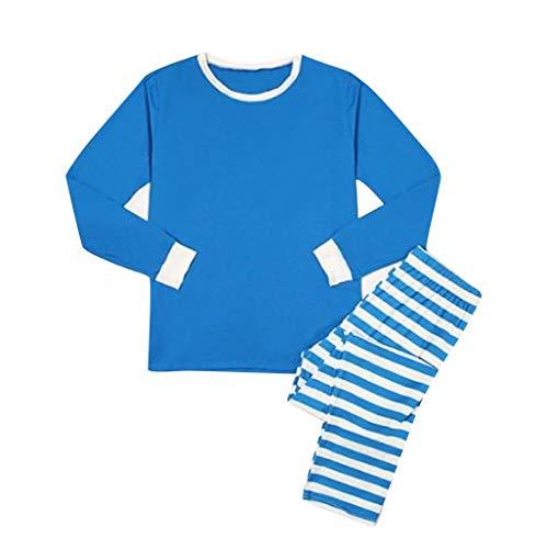 Hui.Hui Noël Parent-Enfant Ensemble Lettre Imprimé T-Shirt Longues Manches Tops Couleur Unie Blouse + Rayures Impression Pantalons Homewear Tenues de Costume Hiver Vêtements pour Enfants
